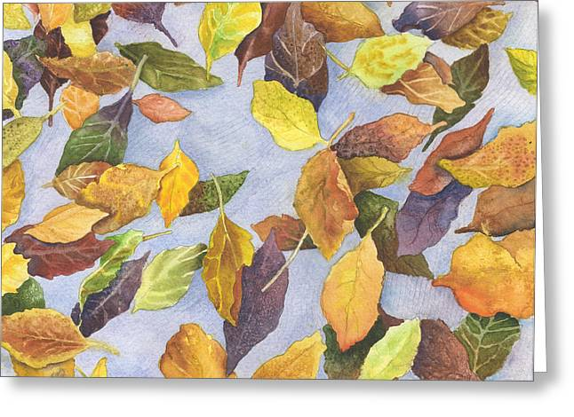 Fallen Leaf Paintings Greeting Cards - Fallen Leaves Greeting Card by Anne Gifford