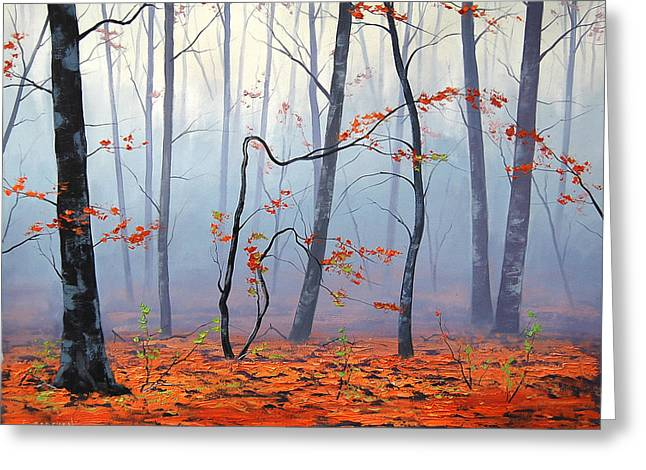 Blaze Greeting Cards - Fallen leaves Greeting Card by Graham Gercken