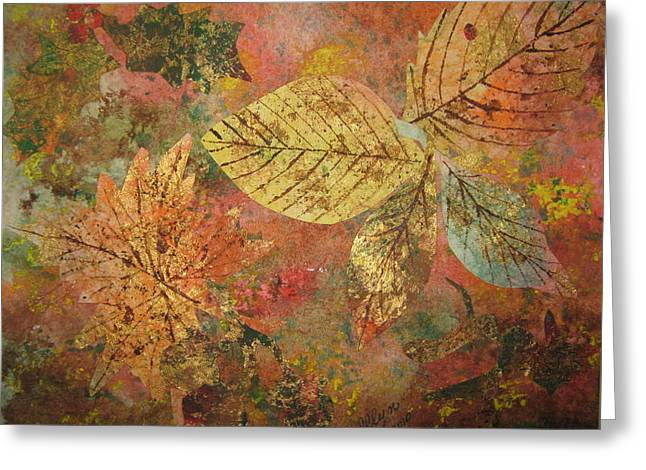 Fallen Leaf Mixed Media Greeting Cards - Fallen Leaves II Greeting Card by Ellen Levinson