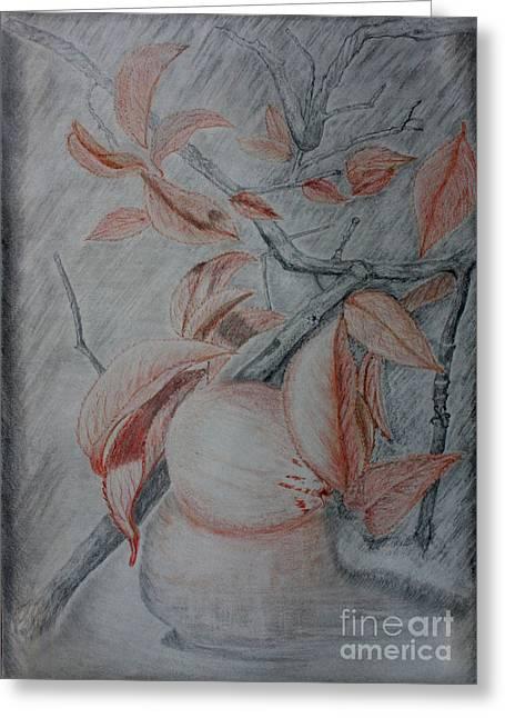 Fallen Leaf Drawings Greeting Cards - Fallen Love Apple Greeting Card by Amanda Lee Tzafrir