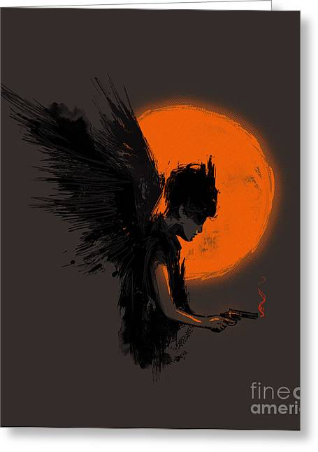 Surreal Angel Art Greeting Cards - Fallen one Greeting Card by Budi Kwan
