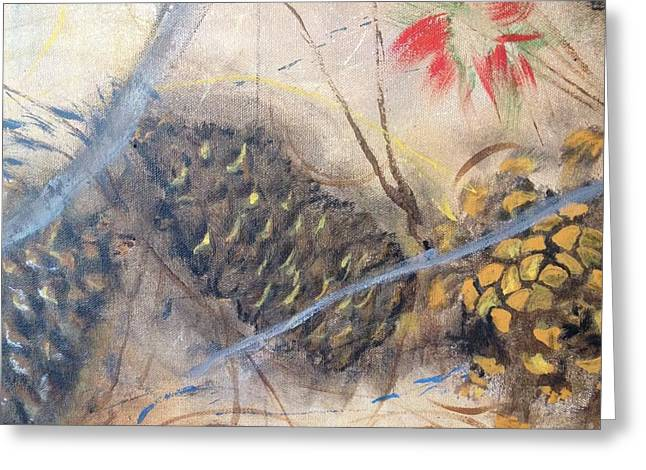 Pine Cones Mixed Media Greeting Cards - Fallen pinecones II  Greeting Card by Amy Wyatt