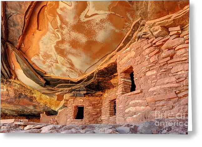 Cliff Dwellings Greeting Cards - Fallen Roof Anasazi Ruins - Cedar Mesa - Utah Greeting Card by Gary Whitton