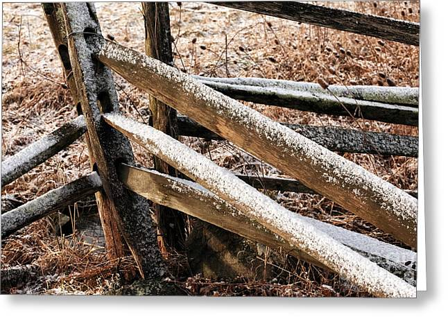 Old Fence Posts Greeting Cards - Fallen Snow Greeting Card by John Rizzuto