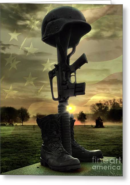 Fallen Soldiers Memorial Greeting Card by September  Stone