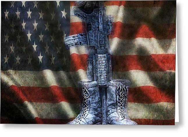 Fallen Soldiers Memorial Greeting Card by Peggy  Franz