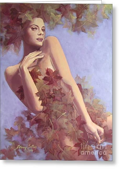 Autumn Prints Greeting Cards - Fall...in love... Greeting Card by Dorina  Costras