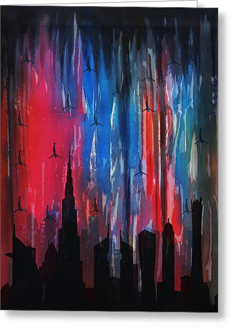 Contemporary Night Scape Greeting Cards - Falling Angels  Greeting Card by Art Tantra