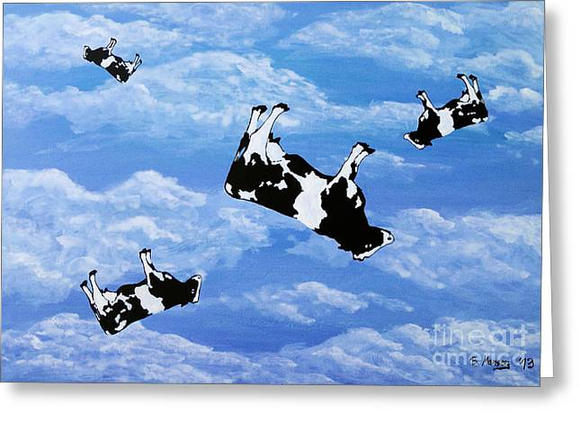 Falling Cows Greeting Card by Bela Manson