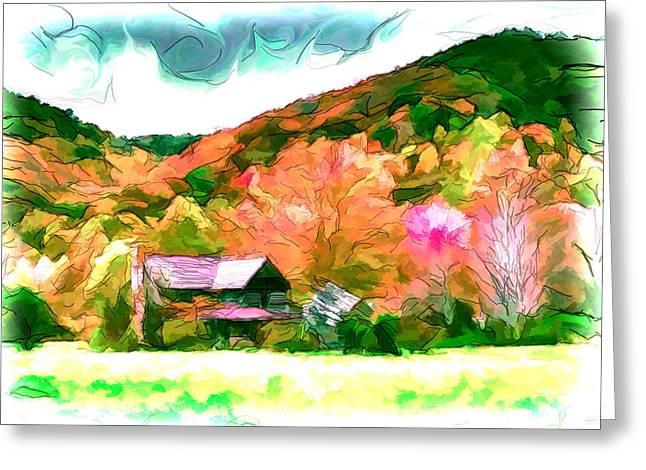 Old Cabins Drawings Greeting Cards - Falling Farm Blended Art Styles Greeting Card by John Haldane
