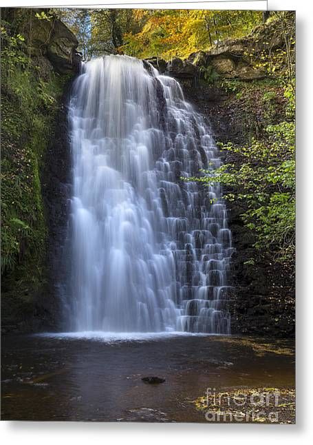 Long Distance Greeting Cards - Falling Foss Waterfall Greeting Card by John Potter