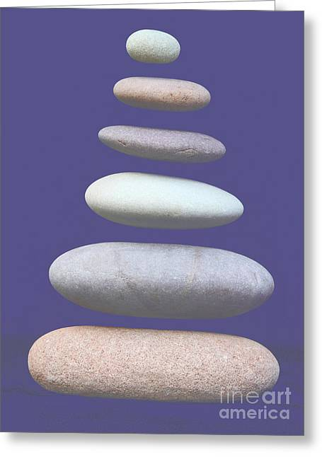 Smoothness Greeting Cards - Falling granite pebbles on blue Greeting Card by Rosemary Calvert