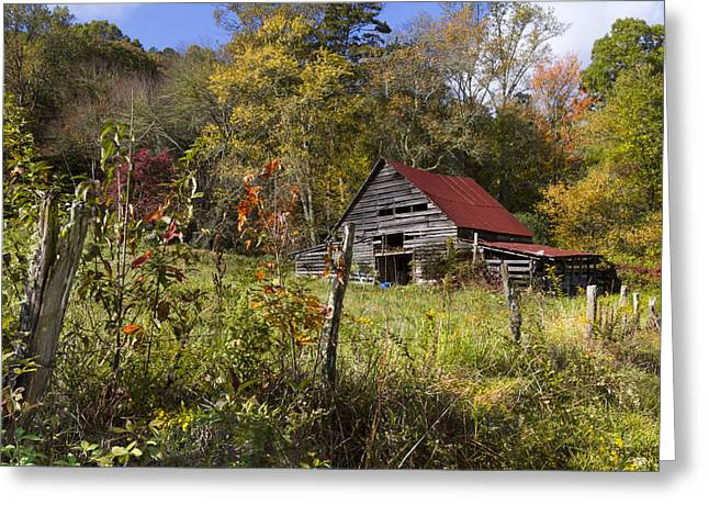 Red Roofed Barn Greeting Cards - Falling Into Autumn Greeting Card by Debra and Dave Vanderlaan