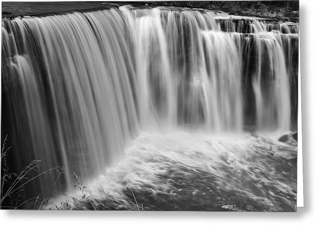 Ithaca Greeting Cards - Falling Layers 3101bw Greeting Card by Karen Celella