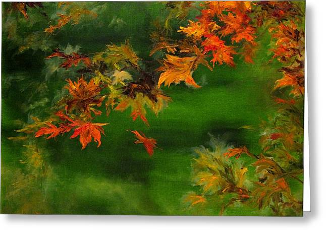 Diane Kraudelt Greeting Cards - Falling Leaf Greeting Card by Diane Kraudelt