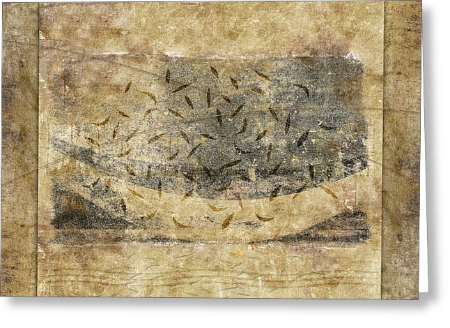 Beige Abstract Digital Art Greeting Cards - Falling Leaves Crescent Moon Greeting Card by Carol Leigh
