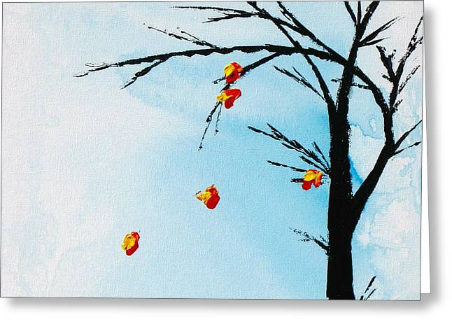 Fall Colors Greeting Cards - Falling Leaves Greeting Card by Kume Bryant