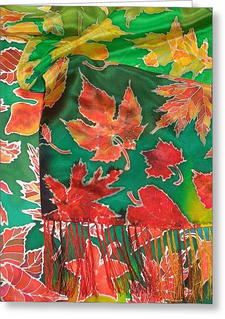 Outdoors Tapestries - Textiles Greeting Cards - Falling leafs silk scarf Greeting Card by Annelle Woggon