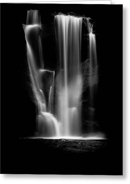 Black And White Waterfall Greeting Cards - Falling Light Greeting Card by Shane Holsclaw