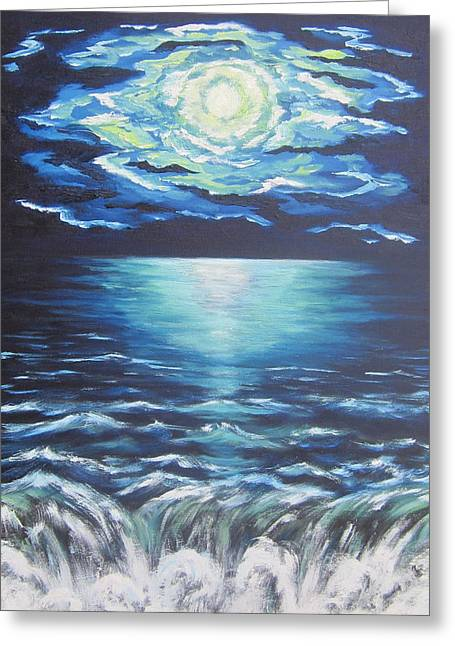 Sea Moon Full Moon Greeting Cards - Falling Off the Edge Greeting Card by Cheryl Pettigrew