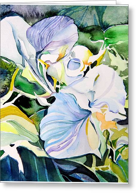 Angel Blues Drawings Greeting Cards - Falling Orchids Greeting Card by Mindy Newman