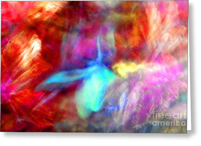 Heather Kirk Greeting Cards - Falling Petal Abstract Red Magenta and Blue B Greeting Card by Heather Kirk