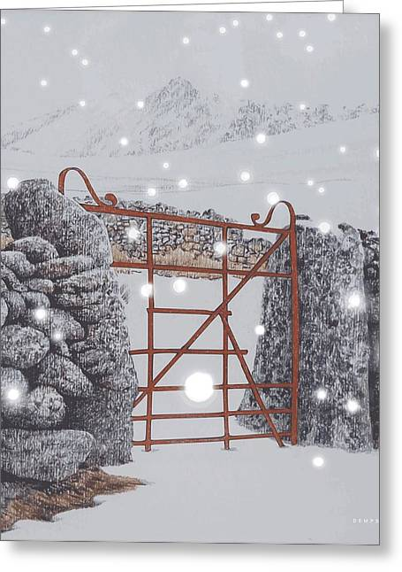 Snowstorm Pastels Greeting Cards - Falling snow Greeting Card by Alwyn Dempster Jones