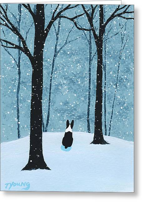 Snow Drifts Paintings Greeting Cards - Falling Snow Greeting Card by Todd Young