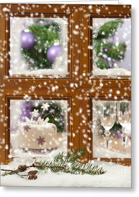 Holiday Theme Greeting Cards - Falling Snow Window Greeting Card by Amanda And Christopher Elwell