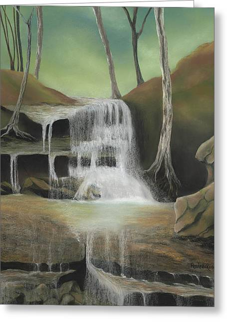 Waterfall Pastels Greeting Cards - Falling Softly Greeting Card by Andrea Rosa