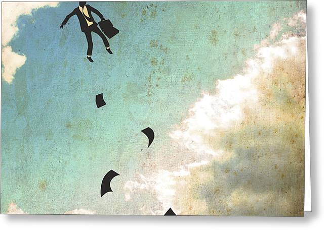 Surrealism Greeting Cards - Falling Up Greeting Card by Jazzberry Blue