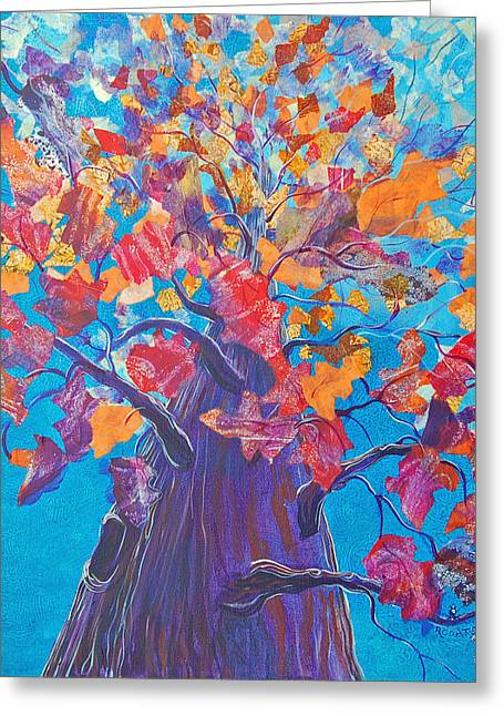 Turning Leaves Mixed Media Greeting Cards - Falling Up Greeting Card by Robin Coats