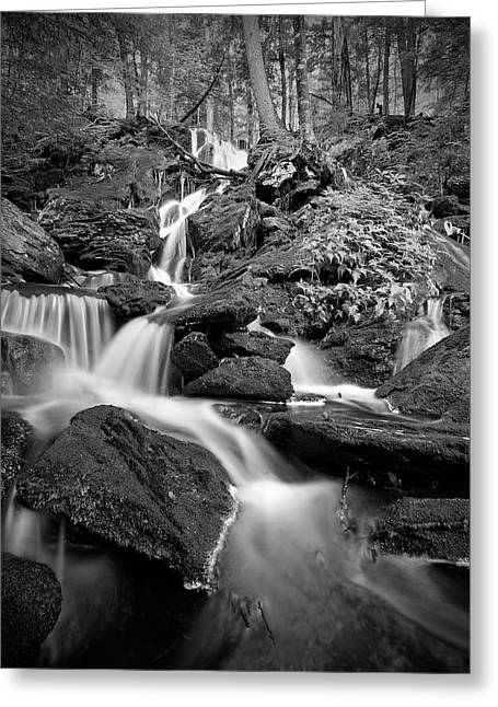 Black And White Waterfall Greeting Cards - Falling Water Greeting Card by Bill  Wakeley
