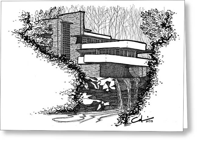 National Icon Drawings Greeting Cards - Falling Water Greeting Card by Calvin Durham