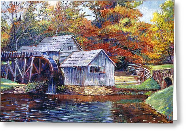 Grist Mill Greeting Cards - Falling Water Mill House Greeting Card by David Lloyd Glover