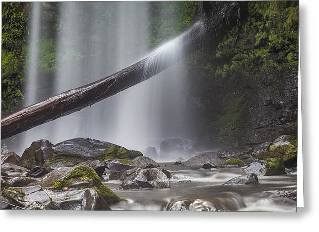 Falling Water Greeting Card by Shari Mattox