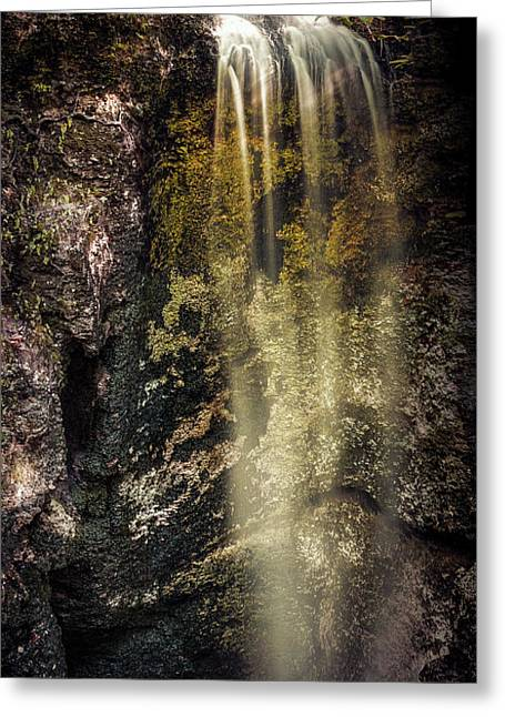 Sink Hole Greeting Cards - Falling Waters Pan Greeting Card by Joshua Roberts