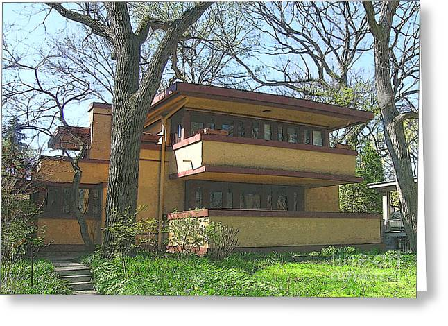 School Houses Mixed Media Greeting Cards - Fallingwater Prelude Greeting Card by John Robert Beck