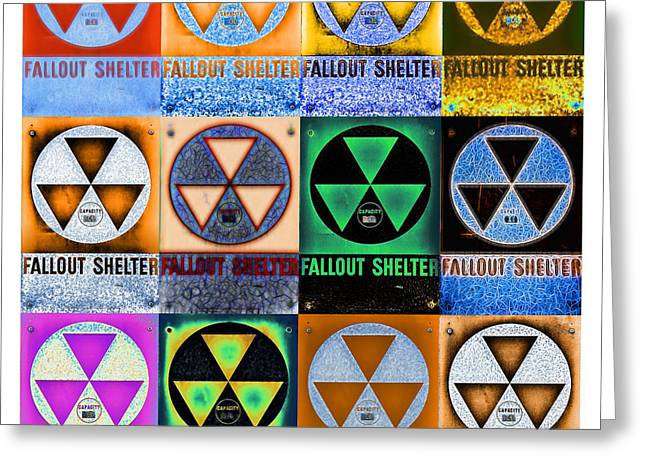 Geiger Counter Greeting Cards - Fallout Shelter Mosaic Greeting Card by Stephen Stookey