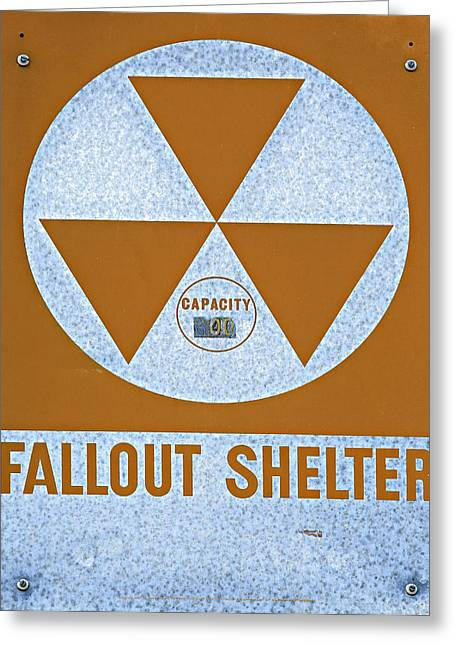 Geiger Counter Greeting Cards - Fallout Shelter Sign Greeting Card by Stephen Stookey