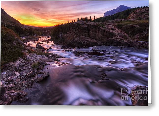 Many Glacier Greeting Cards - Falls at first light Greeting Card by Mark Kiver