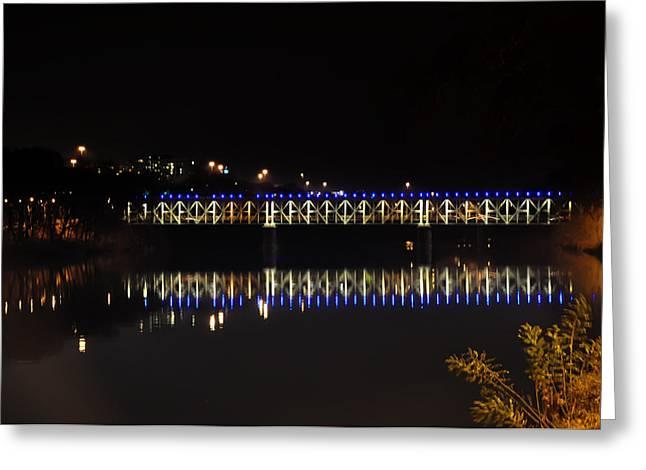 Phila Greeting Cards - Falls Bridge at Night Greeting Card by Bill Cannon