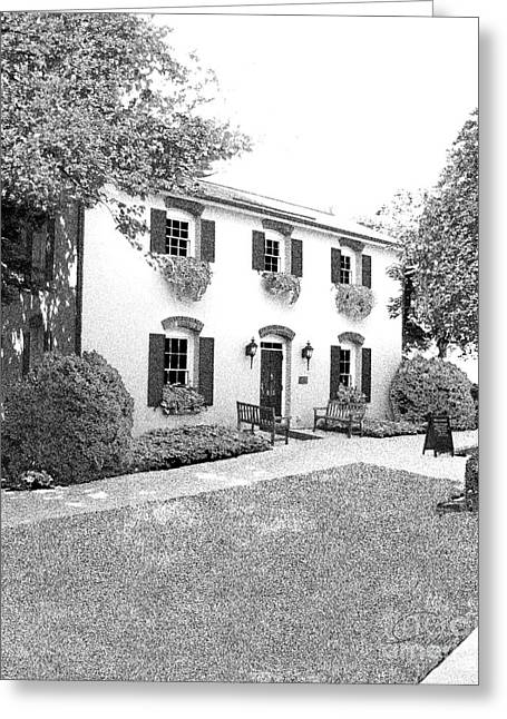 Historic Registry Mixed Media Greeting Cards - FALLS COTTAGE - Architectural Rendering - Detail Greeting Card by Andrew Wells