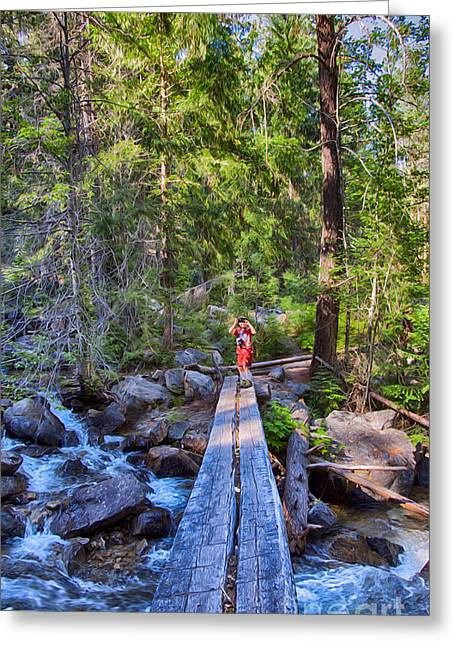 Pateros Greeting Cards - Falls Creek Footbridge Greeting Card by Omaste Witkowski
