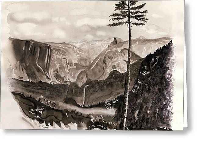 Falls Of The Yosemite Painting Greeting Card by Warren Thompson