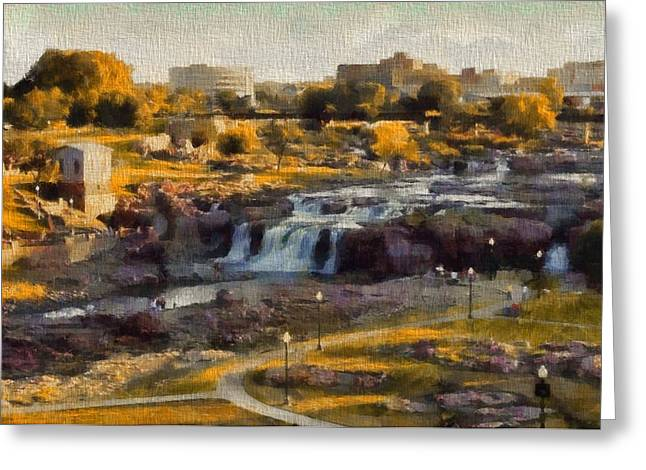 Light Pole Greeting Cards - Falls Park In Autumn Sioux Falls South Dakota Greeting Card by Dan Sproul