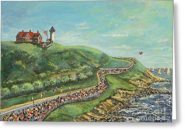 Falmouth Massachusetts Greeting Cards - Falmouth Road Race Greeting Card by Rita Brown