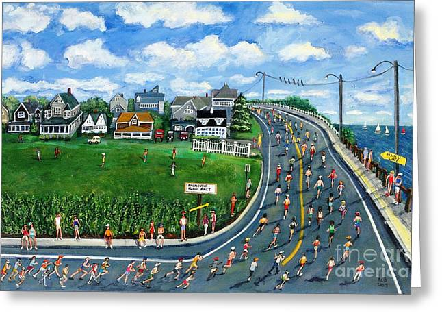 Falmouth Massachusetts Greeting Cards - Falmouth Road Race Running Falmouth Greeting Card by Rita Brown