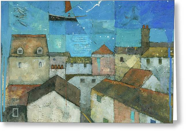Cubist Paintings Greeting Cards - Falmouth Greeting Card by Steve Mitchell