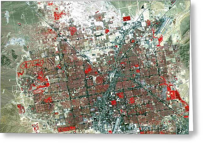 False-colored Greeting Cards - False-color infra red satellite image of Las Vegas Greeting Card by Celestial Images
